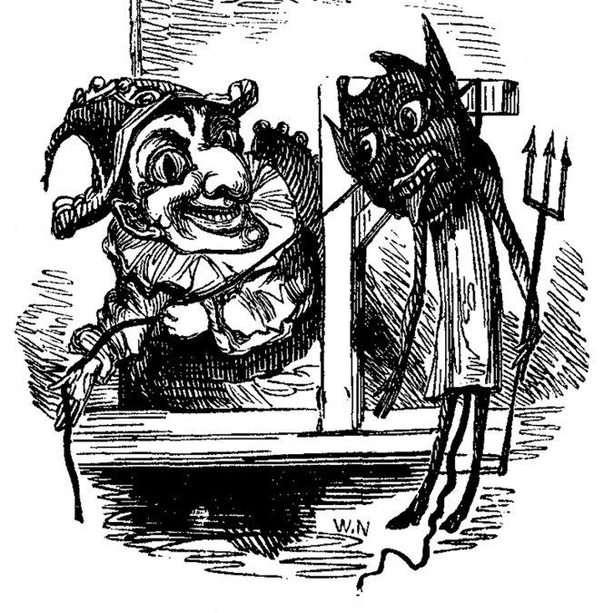 Detalle de la primera portada que muestra a Punch ahorcando alDiablo.