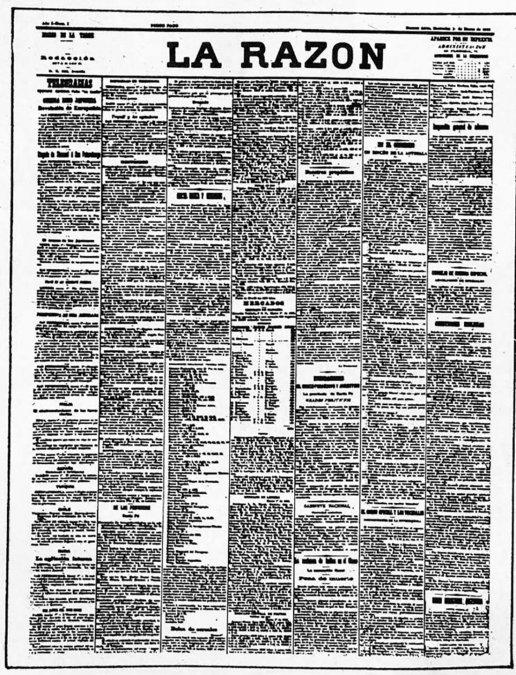 Portada de la primera edición del diario La Razón (Buenos Aires