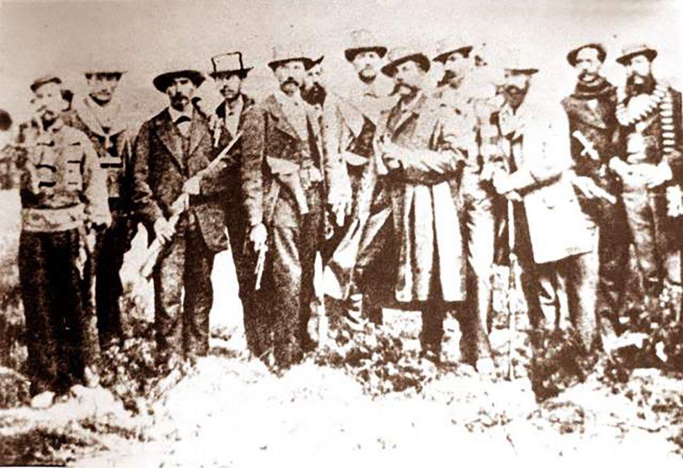 Representación  histórica de 1920 del grupo de civiles bolivianos que encabezaron la  resistencia en Calama el 23 de marzo de 1879