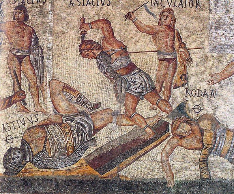 Detalle del conocido como Mosaico de los gladiadores