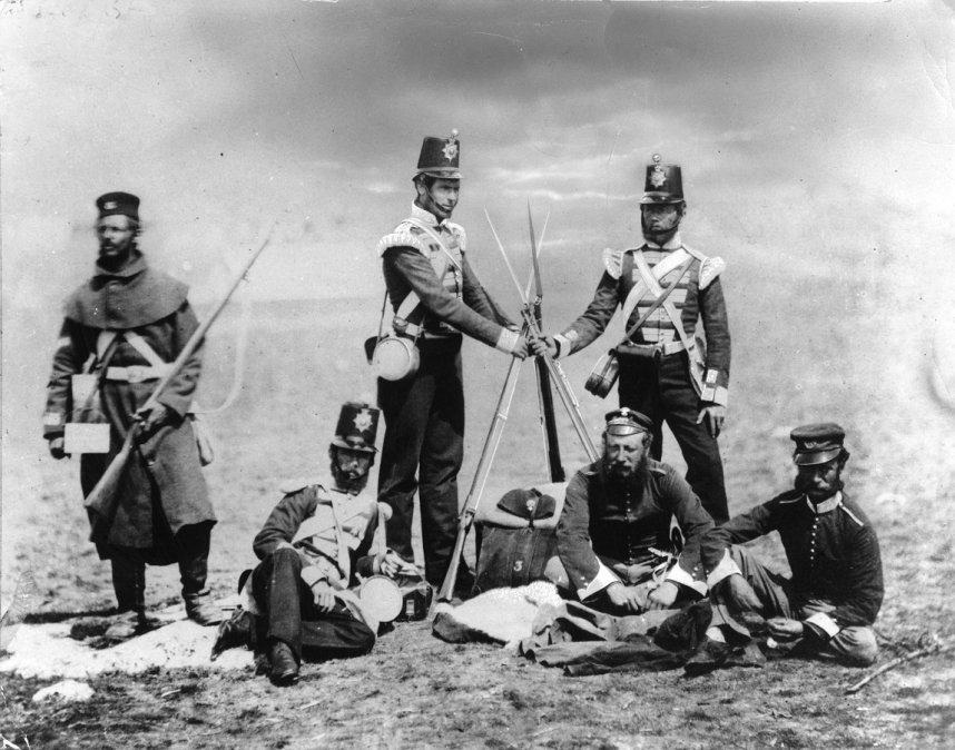 Roger Fenton. Soldados ingleses. Guerra de Crimea (1853-55)