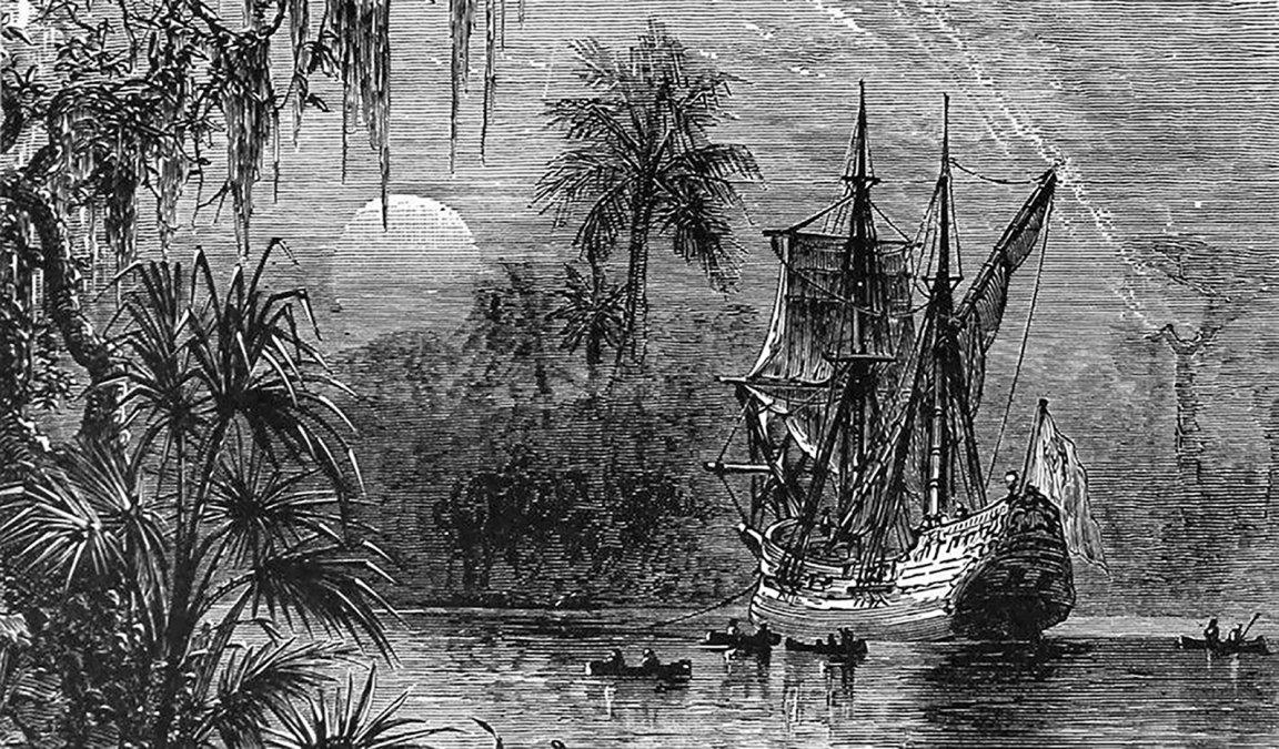 Grabado de 1885 que ilustra la expedición de Ponce de León a Florida.