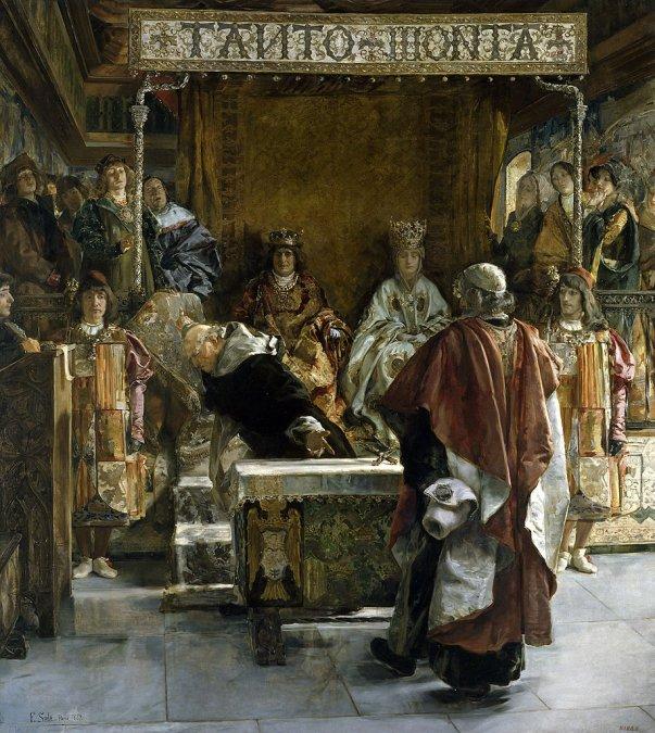 Torquemada arroja un crucifijo contra un judío en el cuadro «Expulsión de los judíos de España»