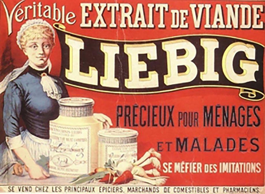 Cartel publicitario francés sobre el extracto de carne Liebig con las  advertencias especialmente indicado para la familia y los enfermos y  cuidado con las imitaciones.