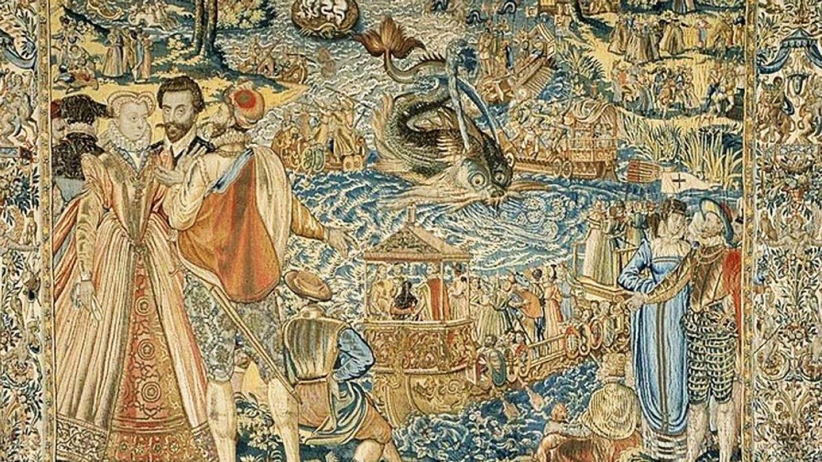 La reina Margot representada en uno de los tapices de Valois.