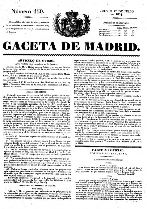 El fin de la Inquisición en España