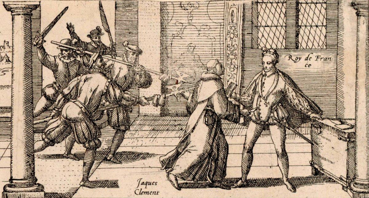 El fraile Clément apuñalando al rey Enrique III de Francia.