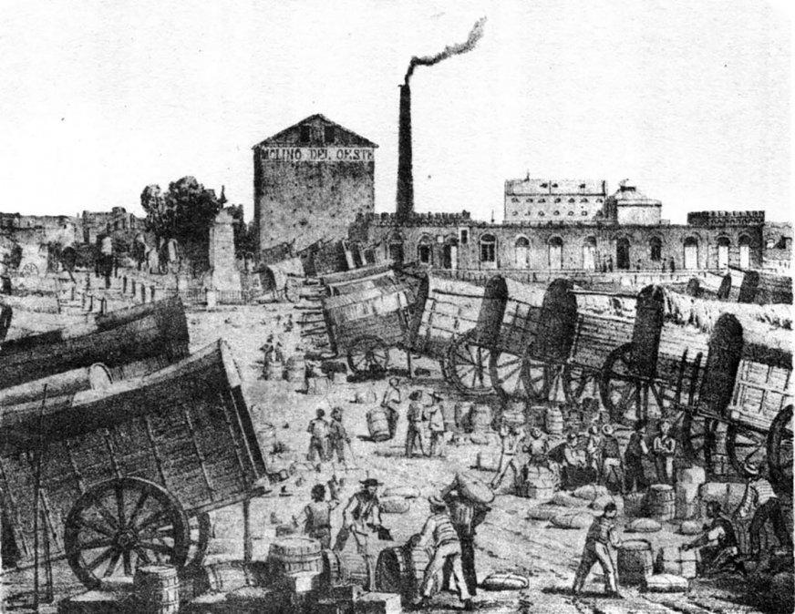 Mercado Once de Septiembre. Lit. de Kratzenstein publicada por Fussoni.