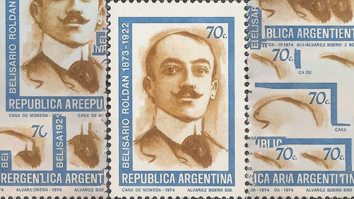 Belisario Roldán en un sello postal argentino de 1974.