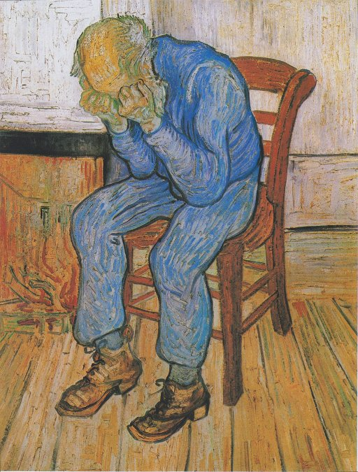 {altText(<b>Anciano apenado (En la puerta de la eternidad)</b>es una pintura al óleo deVincent van Goghrealizada en 1890 enSaint-Rémy de Provencebasada en una litografía anterior.La pintura fue completada a principios de mayo mientras convalecía de una grave recaída en su salud mental dos meses antes de su muerte, la cual es generalmente aceptada comosuicidio.<a href=