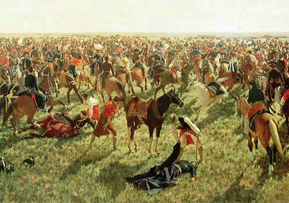 El oleo sobre tela de la Batalla de Sarandí se encuentra en el Museo Histórico Nacional
